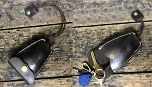 key bag case chain box genuine Cow Leather Pouch Customize handmade black Z596