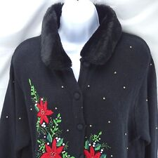 Christmas Sweater Holiday Cardigan Med Embroidered Poinsettias Beads Black Fur