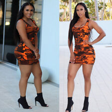 Sexy Women Scoop Neck Camouflage Bodycon Clubwear Party Package Hip Mini Dress