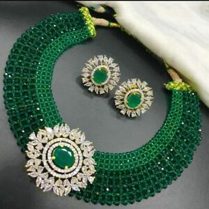 Gold Plated Bollywood Indian Style Choker Necklace Bridal Fashion Jewelry CZ Set