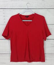 Lafayette 148 New York True Bright Red Short Sleeve Top Blouse Size Large L