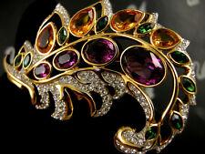 Signed Swarovski Amethyst Colored Crystal Pin~Brooch 22Kt Gold Plating Nwt Rare