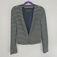 BCBG MaxAzria Women's Size Small Blazer Jacket Black White Striped Lined Cropped