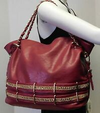 Charming Charlie Red Slouch Hobo Shoulder Bag Handbag Tote w/Gold Chain Straps