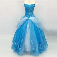 Vintage Blue Princess Ball Gown Long Prom Dress Beaded Embroidery Off Shoulder