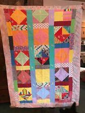 Vintage Handmade Pieced Baby Boy Girl Crib Lap Throw Quilt Blanket Scotty Dogs