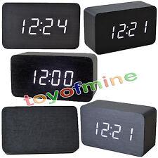 LED blanche en bois numérique Alarme Horloge Calendrier Thermomètre Noire # T1K