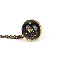 Solar System Necklace Pendant, Planet Necklace,Galaxy S Double Side Glass Dome +
