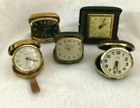 5 Vintage Broken Travel Alarm Clocks Elgin Sloan Semca New Haven Florn