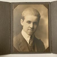 Antique Tri-fold Photograph Cabinet Card Young Man Slicked Hair Decatur Illinois