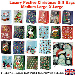 Glossy Christmas Gift Bags Various Designs Medium Large Extra Large Sizes