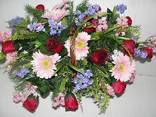 Easter Grave Pillow Cemetery Mothers Day Anniversary Bouquet Red Roses Gerbera