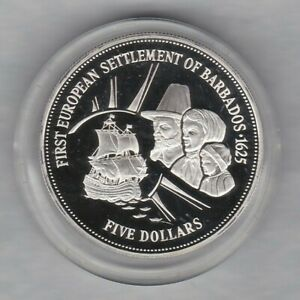 1995 BARBADOS SETTLEMENT SILVER PROOF 5 DOLLARS IN MINT CONDITION + CAPSULE