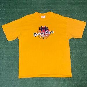 Caribbean Side Riviera Maya Mexico Beach Paradise Yellow Souvenir Tshirt - XL
