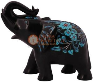 """6"""" Black Wild Elephant Statue Turquoise Inlaid Floral Art Christmas Eve Gift"""