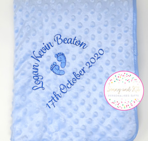 Personalised Baby Blanket, Boy Blue Birth Details, Baby Feet, Embroidered Gift