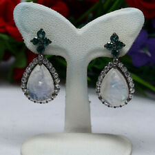 NATURAL 10 X 14mm. WHITE RAINBOW MOONSTONE, GREEN TOPAZ & CZ EARRINGS 925 SILVER