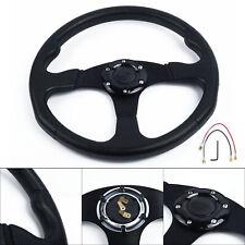 Universal 350mm OMP Black Suede Leather Flat Steering Wheel Drift Rally