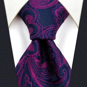 S&W SHLAX&WING Ties for Men Purple Neck Tie Set Blue Fuchsia Paisley