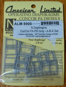 American Ltd. N Scale #8900 Diaphragms for ConCor Alco PA & PB Locos; A-B-A Set
