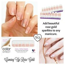 Color Street Coming Up Rose Gold nail polish strips Rose/Gold Glitter Overlay<