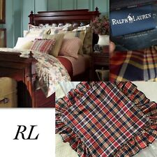 RALPH LAUREN GARRISON PLAID RUFFLE SQUARE PILLOW COVER 16x16