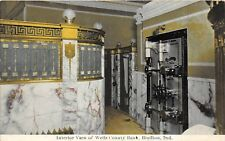 D42/ Bluffton Indiana In Postcard 1911 Wells County Bank Interior Safe