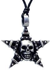 Pewter SKULL on PENTAGRAM Pendant on Adjustable Black Cord Necklace Nickel Free