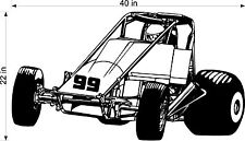 MIDGET SPRINT CAR VINYL DECAL FOR GARAGE WALL / TRAILER / TOOLBOX CLASSIC CAR