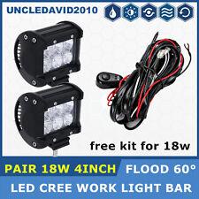 "Kit + Pair 18W 4"" Pod CREE LED Work Light Flood Boat Truck Jeep ATV Cube Offroad"