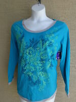 NWT Just My Size 1X L/S Scoop Neck Glitzy Graphic Twofer Tee Top Turquoise