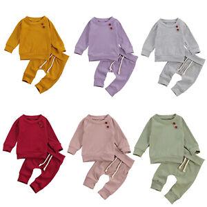 Newborn Baby Tracksuit Clothes Outfit Girl Boy Long Sleeve Sweatshirt Pants 2PCS