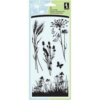 Meadow Wildflower Flower Clear Acrylic Stamp Set by Inkadinkado 60-30496 NEW!