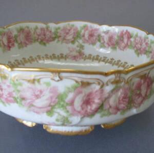 Antique HAVILAND Porcelain PUDDING Center Bowl PINK ROSES Drop ROSE Schleiger 55