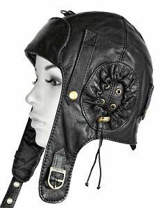 leather convertible pilot cap leather cap aviator hat