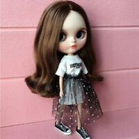 Trendy T-Shirt Skirt Sequins Shoes for Blythe Azone Licca Doll Party Outfit
