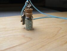 Turquoise Stone Chips Tiny Bottle Cotton Necklace The Hamsa Hand Of Fatima Charm