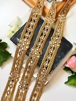 1 Yard Latest Indian Golden Zari Zardosi Mirror bead work Lace Trim Boarder