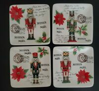 "(4) Maxcera Christmas Noel Joyeux Nutcracker 6"" Square Appetizer Dessert Plates"