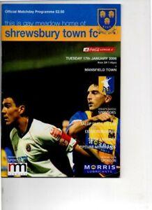 Shrewsbury Town v Mansfield Town 2005/06 Coca Cola league 2