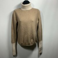 MAGASCHONI 100% Cashmere Long Sleeve Turtleneck Sweater Size Large Brown Ivory