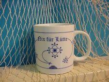 """Ocean-Line Indisch Blau Großer Kaffeebecher """"Nix für Lütte"""" Maxi Pott/Tasse 0,5l"""