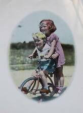 Vintage Lithograph 1930s hand coloured kids on trycicle