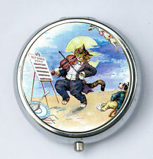 Cat PILL CASE pillbox pill holder playing the fiddle kitsch Anthropomorphic