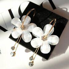 Hot Zircon Sunflower Tassel Circle Transparent Clip-On Earrings Gold For Women