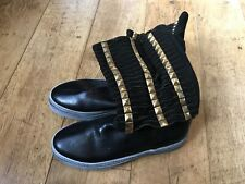 women's leather & suede gold stud Spaziomoda made in Italy black boots UK 5