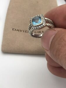 David Yurman Sterling Silver Petite Albion Hampton Blue Topaz/Diamonds Ring Sz.5