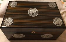 Heritage Metalworks Cigars Humidor Humidifier Wood Pewter Case Desktop