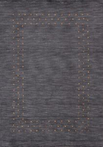 Bordered Modern Gabbeh Oriental Hand-knotted Wool Area Rug Contemporary 5'x6'