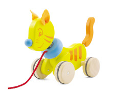 Pulling Toy Pull Along Animal Cat Yellow 13500 Pintoy NEW - Wooden Pull Animal